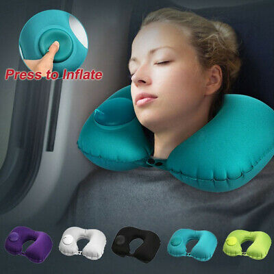 U-Shape Automatic Inflatable Portable Airplane Travel Pillow Car Air Neck Pillow