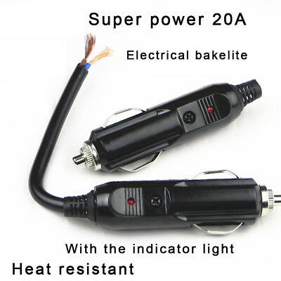 New Auto Car 12V Male Cigarette Lighter Socket Plug Connector With 20A Fuse LED