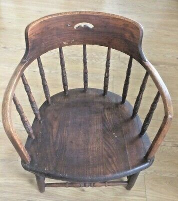Original old antique Edwardian Oak Captains Smokers Bow chair
