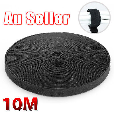 10M Black Nylon Cable Manager Organizer Winder Cable Clip Ties Belting Strap