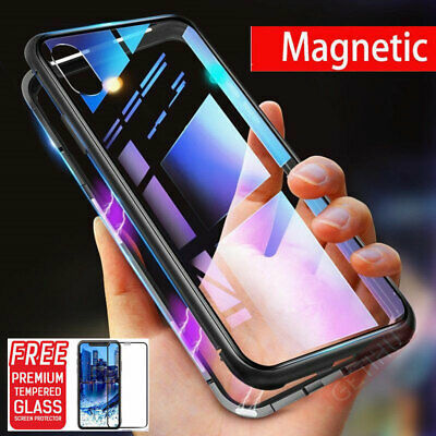 Magnetic Adsorption Case For iPhone XS MAX XR 6s 8 7 Glass 360° Protector Cover