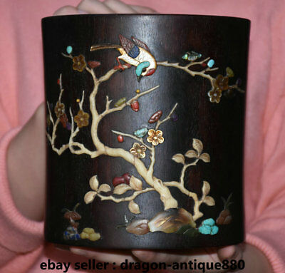 """6.8"""" Old Chinese Rosewood Wood Inlay Shell Dynasty Flower Birds Words Brush Pot"""