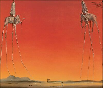 Salvador Dali ( the ) Les Elephants surrealist fine art print 60 x 80 cm large