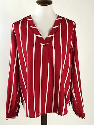 03c695deb4db2 Shein Womens Blouse Top Medium Red White Stripe V-Neck Long Sleeves C31-06P