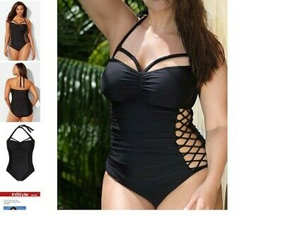 c9d4cc450a9 nwt ASHLEY GRAHAM boss underwire maillot sexy cutout SWIMSUIT 8 black p3 *