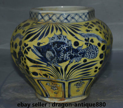 "9.6"" Marked Old Chinese Yellow Blue White Porcelain Palace Fish Flower Bottle"