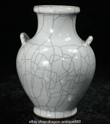 """7.2"""" Rare Old Chinese Guan Ware Porcelain Dynasty Palace Ears Bottle Vase Jar"""