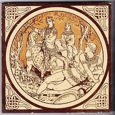 John Moyr Smith  Tile  c. 1876      Tennyson's Idylls of the King    ETARRE
