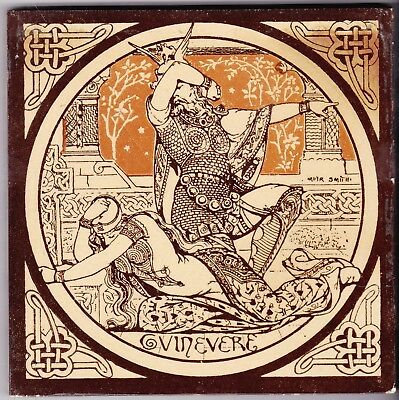 John Moyr Smith  Tile  c. 1876      Tennyson's Idylls of the King     GUINEVERE