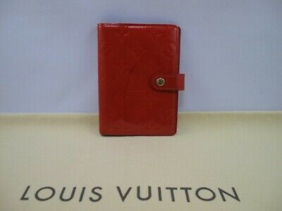 100% Authentic Louis Vuitton  Monogram Vernis Red Agenda PM Day Planner Cover