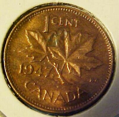 1947 Canadian Maple Leaf Penny .01 Cent