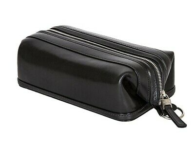 """NWD Bosca Old Leather Zippered 10"""" Toiletry Shave Dopp Kit 577 Black"""