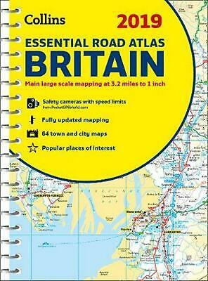 2019 Collins Essential Road Atlas Britain by Collins Maps Spiral Book Free Shipp