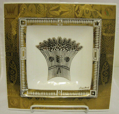 """Georges Briard Square Bent Tray Wheat Mid Century White Glass 10"""""""