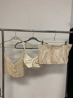 Antique Vintage 1920s 1930s 1940s silk lingerie chemise bullet bra Lot AS IS