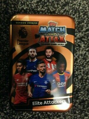 Match Attax 2018/19 Elite Attackers Empty Mega Tin + 100 Cards Inc Limited Mint