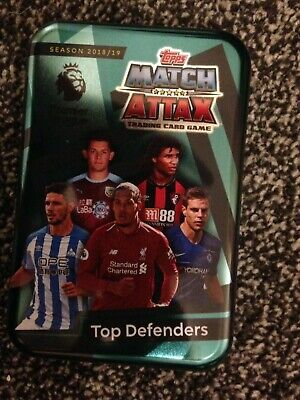 Match Attax 2018/19 Top Defenders Empty Mega Tin + 100 Cards Inc Limited Mint