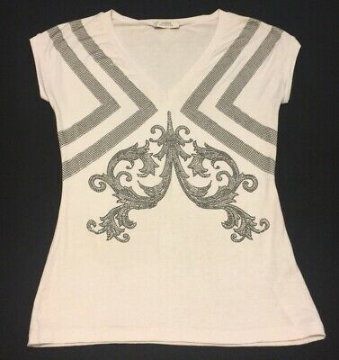 acd1b83ad0df05 Versace Collection White Silver Black Embellished Women's Top Size Us 6 EU  40
