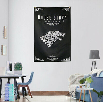 Game Of Thrones House Stark Flag Banner GOT Fans Gift 2.2'x3.4' Home Decoration