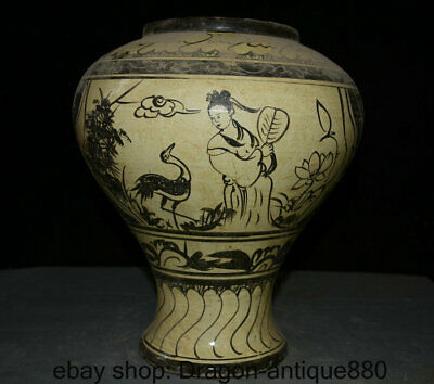 "13"" Collect Old Chinese Cizhou Kiln Porcelain figures people Crane Pot Jar Crock"