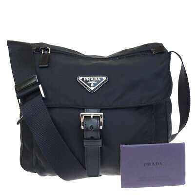 cf550ade62b7 Authentic PRADA MILANO Logos Shoulder Bag Nylon Leather Black Italy 61EQ958