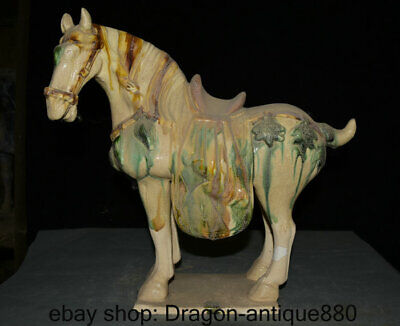 """16"""" Old Chinese Tang sancai Pottery Porcelain Zodiac Year Horse Horses Statue"""