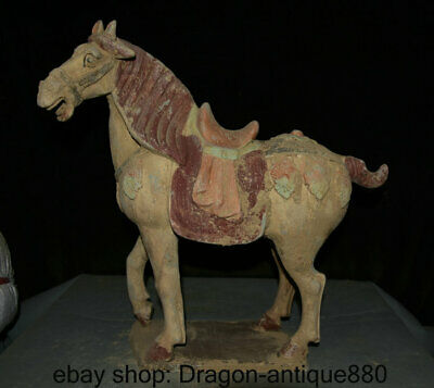 """18"""" Collect Chinese Tang sancai Pottery Porcelain Dynasty Palace Horse Statue"""