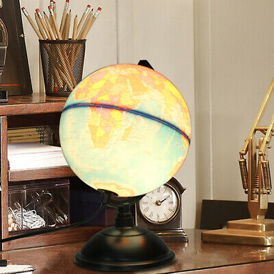 "12"" Illuminated World Globe Earth Rotating With Night Light Desk Map Education"