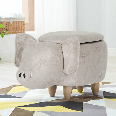 Pig Shape Footstools Ottoman Stool Storage Bench Sofa Stool with Wooden Legs