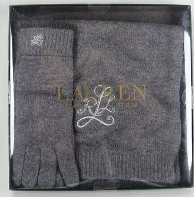 Ralph Lauren Grey Wool Alpaca Scarf Touch Gloves Set Nwt