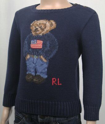 Ralph Lauren Navy Blue Patriotic Cotton Crew Neck Infant Teddy Bear Sweater NWT