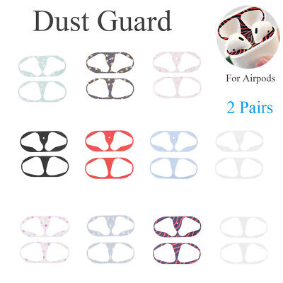 2 Pairs Protective Sticker Case Skin Dust Guard for Apple Airpods Earphone Box