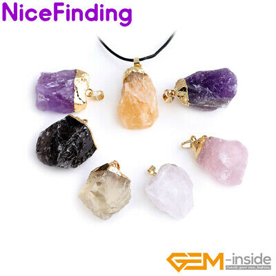 Natural Raw Crude Quartz Crystal Stone Dowing Chakra Healing Pendant Necklace