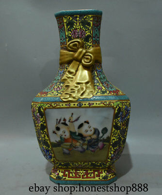 "14"" yongzheng Mark Chinese Enamel Color Porcelain Gold Child Flower Vase Bottle"