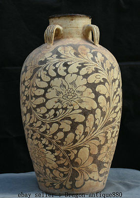 "22"" Old Chinese Cizhou Kiln Porcelain Dynasty Palace Flower Bottle Vase Pot"