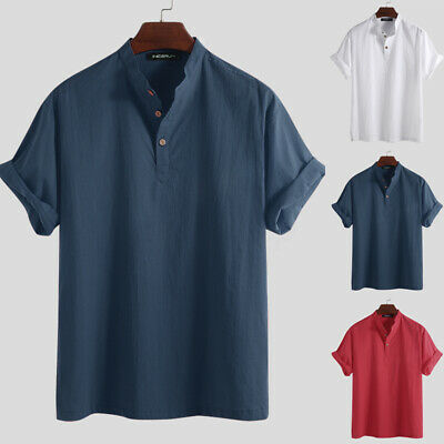 Men Linen Short Sleeve Shirt Summer Cool Loose Casual Shirts V-Neck Tops Holiday
