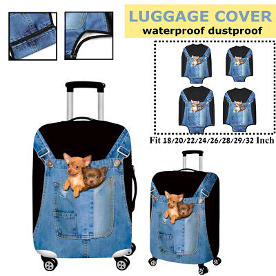 3D Denim Dog Elastic Travel Luggage Cover Suitcase Protector Case Dust-proof New