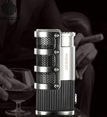 Windproof Triple Torch Jet  Flame Butane Gas Cigar Cigarette Lighter Silver