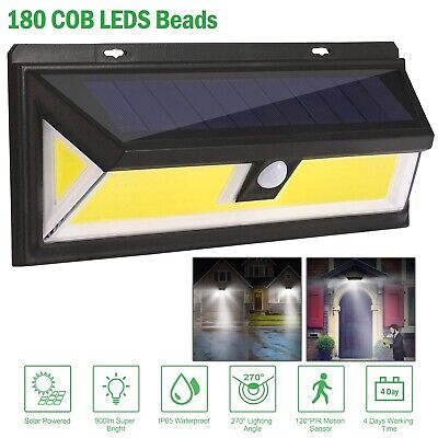 180 LED Solar Powered Light Motion Sensor Security Lights Garden Outdoor Wall UK