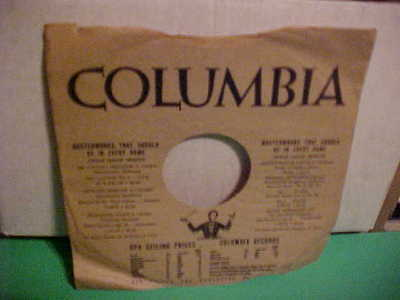 ORIGINAL VINTAGE 10 INch 78 RPM COLUMBIA RECORDS PAPER SLEEVE ONLY NO RECORD