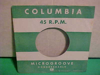 Original Vintage 7 Inch 45 Rpm Sleeve Only No Record Columbia Microgroove Green