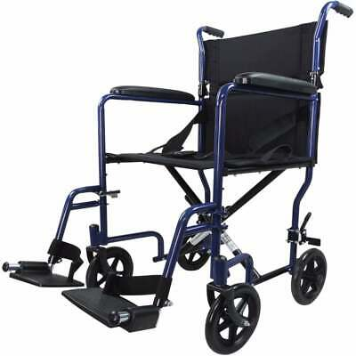 Black Red Lightweight Portable Folding Transport Transit Chair Wheelchair STEEL