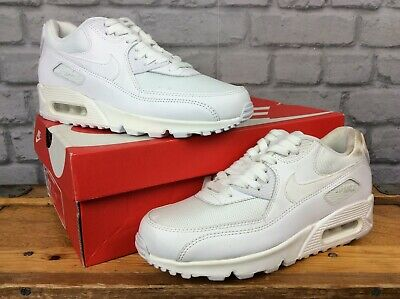 Nike Air Uk 6 White Max 90 Essential Leather Mesh Trainers Rrp £100 Mens Ladies