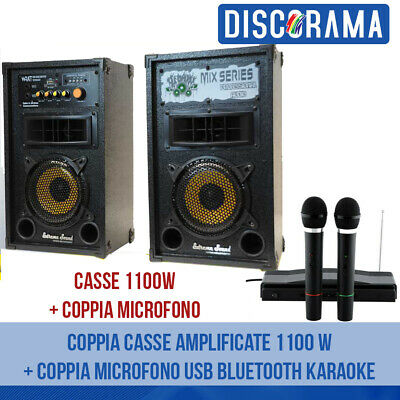 Coppia Casse Amplificate 1100 W + Coppia Microfono Usb Bluetooth Karaoke Dj Mp3