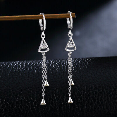 hot sale Fashion gorgeous women Crystal 925 Silver Earrings wedding charms LE049