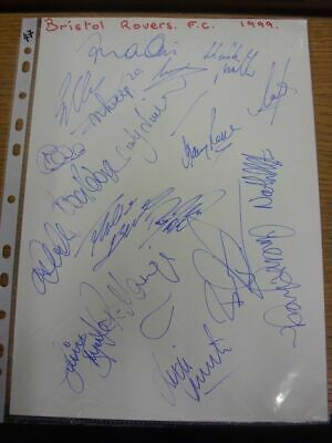 1999 Autographed A4 Page: Bristol Rovers - Approx 19 Signatures Upon A Plain Whi