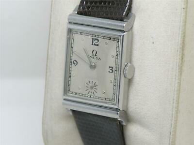 """Rare 1930'S Mens' Omega Solid Stainless """"Tank"""" Cal. 17.8 Wrist Watch, Running!"""