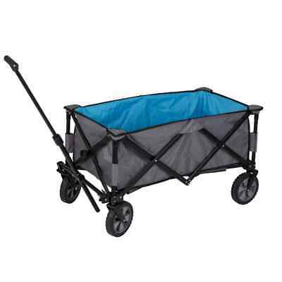 Bo-Trail Folding Utility Cart Steel Grey and Blue Hand Platform Dolly Truck
