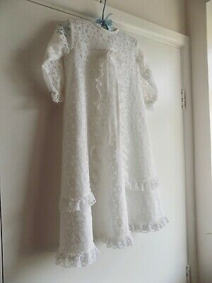Vintage Kinswear Christening Gown~ Baptism Dress~White Lace~Perfect For Reborn