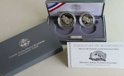 1991 PROOF Mount Rushmore 2 Coin 90% Silver Dollar and 50 Cents with Box and COA